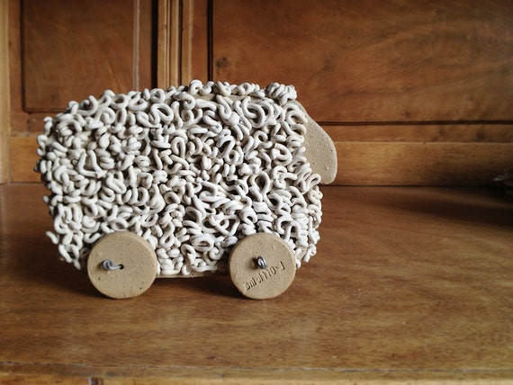 Ceramic Sheep on Wheels for Your Home - Home Decor