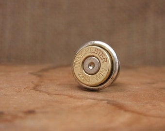 Bullet Jewelry - Gift for Man - 243 Brass Bullet Casing Tie Tack / Lapel Pin / Hat Pin  - Groomsmen Gifts
