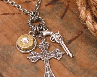 """Bullet Jewelry - Bullet Casing Jewelry - """"God and a Gun"""" Charm Necklace - Bullet Casing, Pistol Charm and Crucifix - Gun Jewelry"""