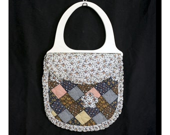 Vintage 70s Calico Patches Handbag with Acrylic Handles