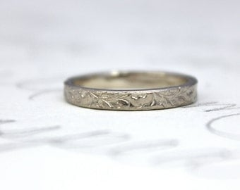 14k white gold wedding band ring . vine leaf gold stacking ring . recycled gold heirloom wedding band ring . handmade artisan ring