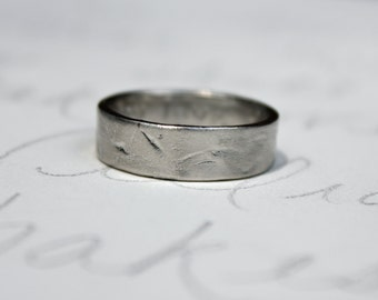 6mm wide palladium mens womens wedding band . smooth rustic organic wedding band ring . my love engraved secret message