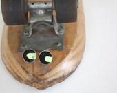Recycled Skateboard Large Stud Earrings-Urban Green