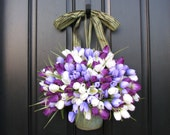 Spring Tulips - Bucket of Spring Tulips - Shabby Chic - Country Decor - Purple Tulips - Tulip Arrangement - Wall Pockets