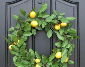Lemon Salal Leaf Wreath, Spring SUMMER Wreath, YELLOW Lemons, Lemon Leaves Wreath, Artificial Lemon Wreath, Summer Wreaths, Lemon Decor
