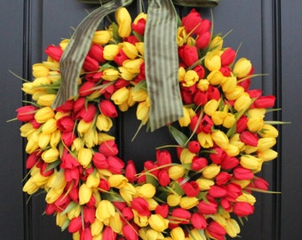 Wreaths, Spring Wreath, Tulips for Spring, Easter Wreaths, Easter Decor, Mother's Day Wreaths, Etsy Wreaths