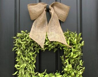 Wreaths - Boxwood Wreath - Square Wreath - Summer Decor - Burlap Ribbon - Year Round Wreath