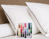 Queen Duvet Kiss of color Italian Oeko-Tex piping - choose your fabric 32 colors, choose your kiss 23 stocked, over 100 custom order