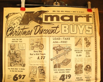 Orig Christmas Toy Ad 1963 Chatty Cathy Barbie Army Toys Poster JFK Assassination Article 60s Vintage Farmhouse Kitchen Toy Collage Pk KMart