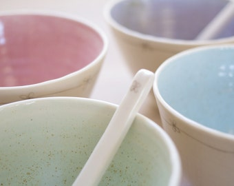 Porcelain Daisy Sugar Bowl & Spoon