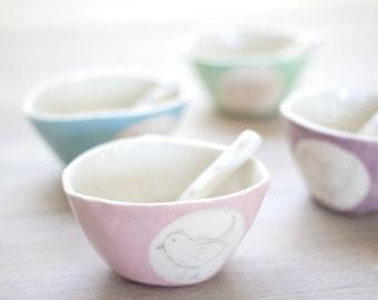 Porcelain Bird Bowl & Spoon