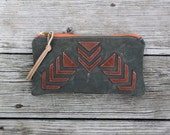 rustic tribal arrow army waxed canvas and leather zippered purse clutch utility bag
