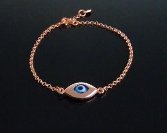 Evil Eye Bracelet in Rose Gold