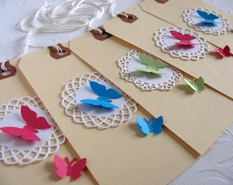 SET of 10 Altered Large Manilla Shipping Tags. Butterflies on Lacy Circles. Fuschia. Turquoise. Soft Mint. 4 3/4 x 2 3/8 inches