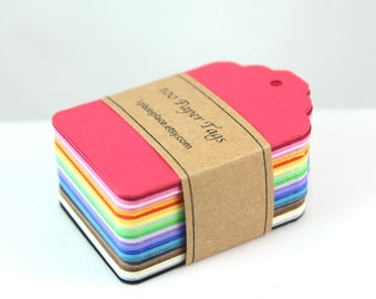 100 Paper Tags - Multi Colors, Rainbow