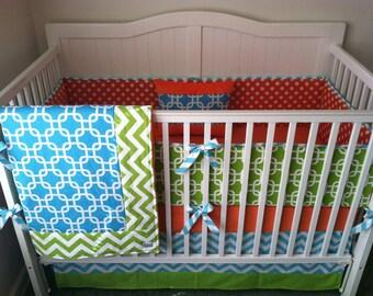 Aqua Green and Orange Modern Crib Bedding Made to Order With Blanket