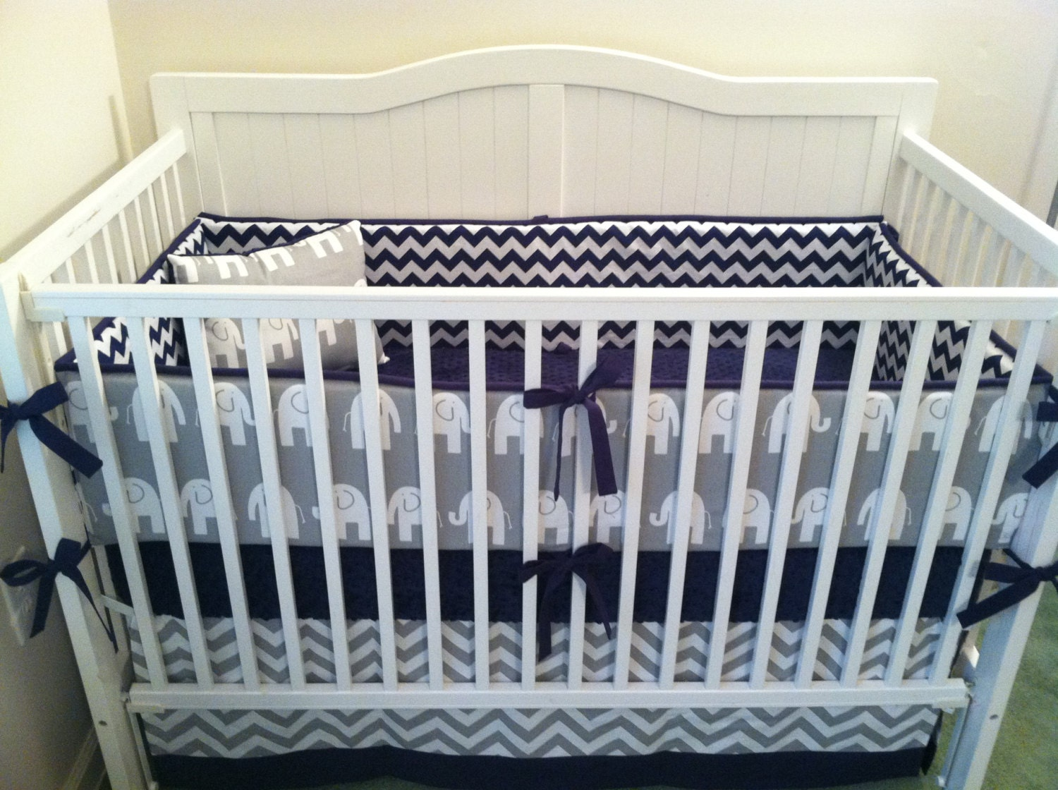 Navy And Gray Elephant Crib Bedding Set By Butterbeansboutique