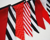 Pirate Birthday Banner Bunting, Red & Black, Boy's Party Flags, Photobooth Photo Prop, Photography Decoration, Wedding Decor - Cloth, Fabric