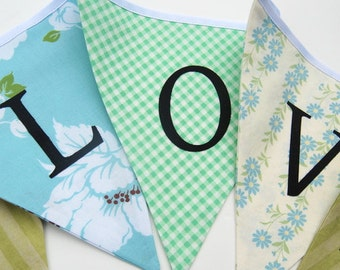 LOVE Banner for Wedding, Bridal Shower -- Fabric Decoration, Garland, Bunting in Green and Blue -  Photo Prop, Photobooth Backdrop