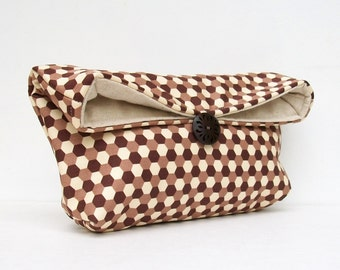 Brown and Cream Clutch Purse, Geometric Honeycomb, Makeup Bag, Great for Travel, Gift Under 25