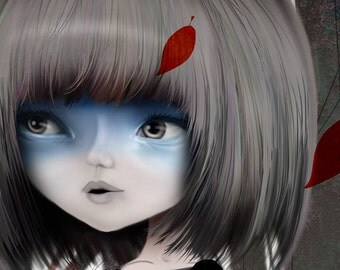 """5x7 Fine Art Print - """"elle erre"""" - Giclee Print of a young wandering girl spirit - blue and red - Artwork by Jessica Grundy"""