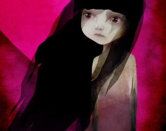 "Fine Art Print - ""Lisbeth"" - Little Dark Haired Girl with sad eyes - 8.5x11 or 8x10  Medium sized Digital Art Print"
