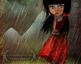 "ACEO ATC - ""The Storm"" - Artists Trading Card - Mini Fine Art Print - 2.5x3.5"" - Little Girl Standing in Rainstorm with Black Kittens"