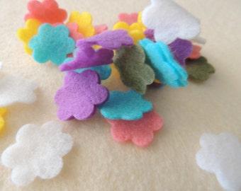 Easter Felt  - 50 - Die cut Small Felt Flowers, DIY Easter Embellishment