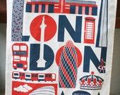 London Typographic tea towel