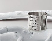 RESERVED for Nancy- Modern Heart and Soul Ring- Hand Cut Open Heart with Custom Personalized Words, Quote or Lyrics