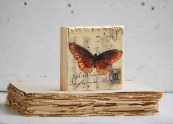 Brown BUTTERFLY Nature Study Encaustic Mixed Media Mini Painting Vintage Sheet Music Vintage Postage Stamp Collage