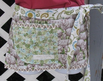 Sheep Apron - adult size - half apron - by Happy Campers of the South (APR145)