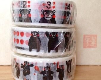 limited edition 2013 - washi masking tape - kumamoto - kumamon bear - single piece