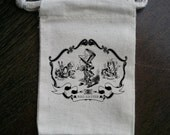 Alice In Wonderland Framed Mad Hatter Muslin Party Favor Bag