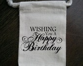 Happy Birthday Muslin Party Favor Bag