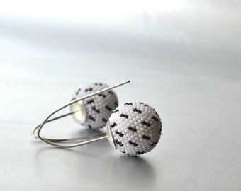 white earrings glass beads and silver