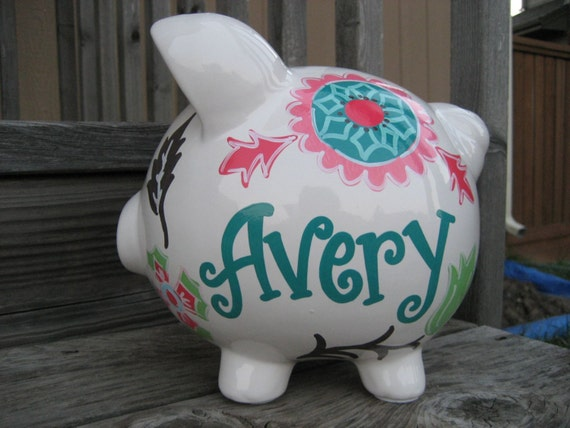 Large custom personalized piggy bank boho flowers for Large piggy bank with lock