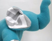 Reserved for Loraine- Elephant Chevron Plushie stuffed animal toy-  Turquoise Terry Cloth  with modern White and gray