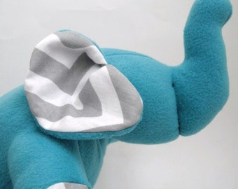 Elephant Chevron Plushie stuffed animal toy-  Turquoise Fleece with modern White and gray