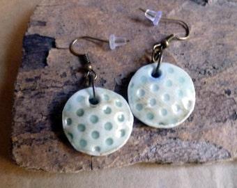 Polka Dot earrings, handmade porcelain, celadon glaze