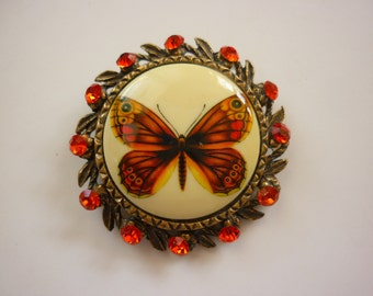 Vintage Butterfly Cameo Brooch / Pendant with Rhinestones 1960s