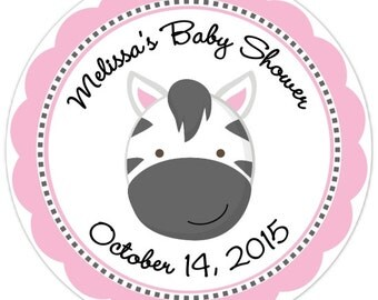 Zebra Baby Shower Stickers - Zebra Custom Baby Shower Labels - Personalized for YOU