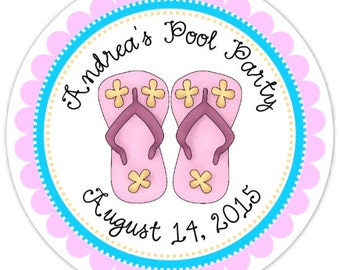 Pool Party Stickers, Birthday Labels, Personalized Pool Party Stickers, Birthday Decoration, Pool Party Favors, Flip Flops Party Favors