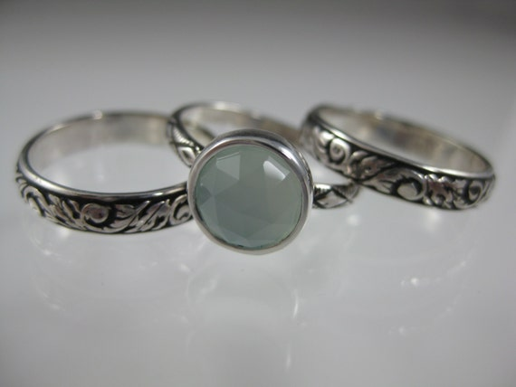 silver stacking ring set with faceted aqua chalcedony or stone of your choice, gemstone ring, stacking ring, silver ring