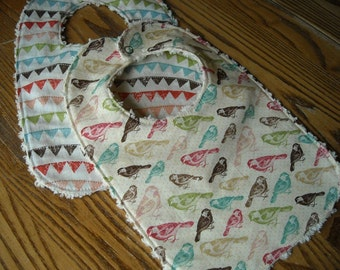 Baby Birds & Buntings Bib Set for Baby Chenille Back, snap, ready to ship