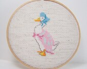 SALE Beatrix Potter Hoop Art, Hand Embroidery, Cross Stitch Sampler, Cottage Chic, Nursery Wall Decor, Jemima Puddleduck