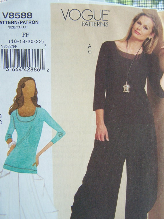 Vogue V8588 Sewing Pattern - Vogue Fitted Top and Loose-Fitting Pull On Pants, Plus Size  High Fashion