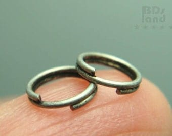 sales -40% / C102SA /  8Gm *101Pc / Diameter 6mm - Antique Silver Plated Split Rings / Double Rings Findings