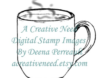 INSTANT Download Digital Stamp Image Hot CUP of COFFEE