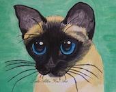 "Siamese Cat Art Print  CAT ART Siamese Cats Kitten Kitty Cat Lover Feline Cat Print Cats WaterColor  ""Sweet Siamese"" Leslie Allen Fine Art"